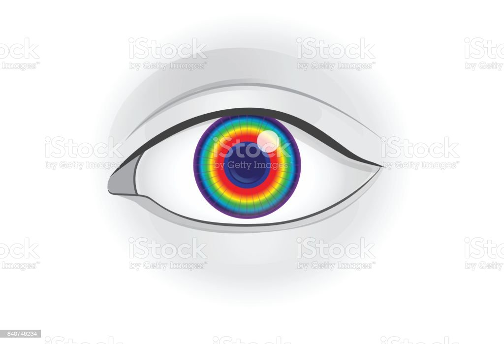 Spectrum light in human eye lens. vector art illustration