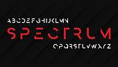 Spectrum regular futuristic decorative sans serif typeface design. Vector alphabet, letters, font, typography.