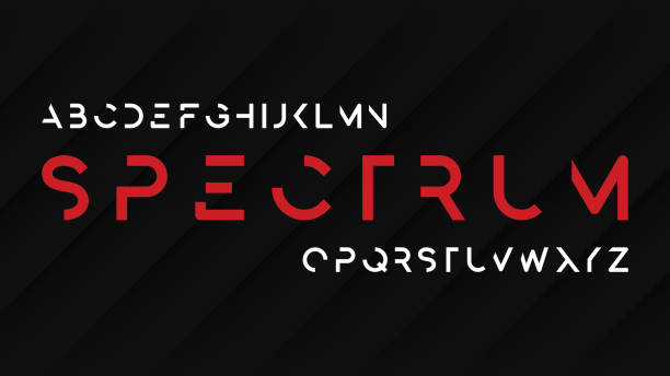 Spectrum regular futuristic decorative sans serif typeface design. vector art illustration