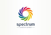 Spectrum, spiral rainbow creative symbol concept. Swirl palette, sunlight mix abstract business idea. Colorful circle, gradient icon. Graphic design tamplate