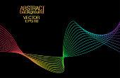 Spectrum wave on black background. Vector vibrant colored abstract pattern. Artistic waving lines. Line art technology design element. EPS10 illustration