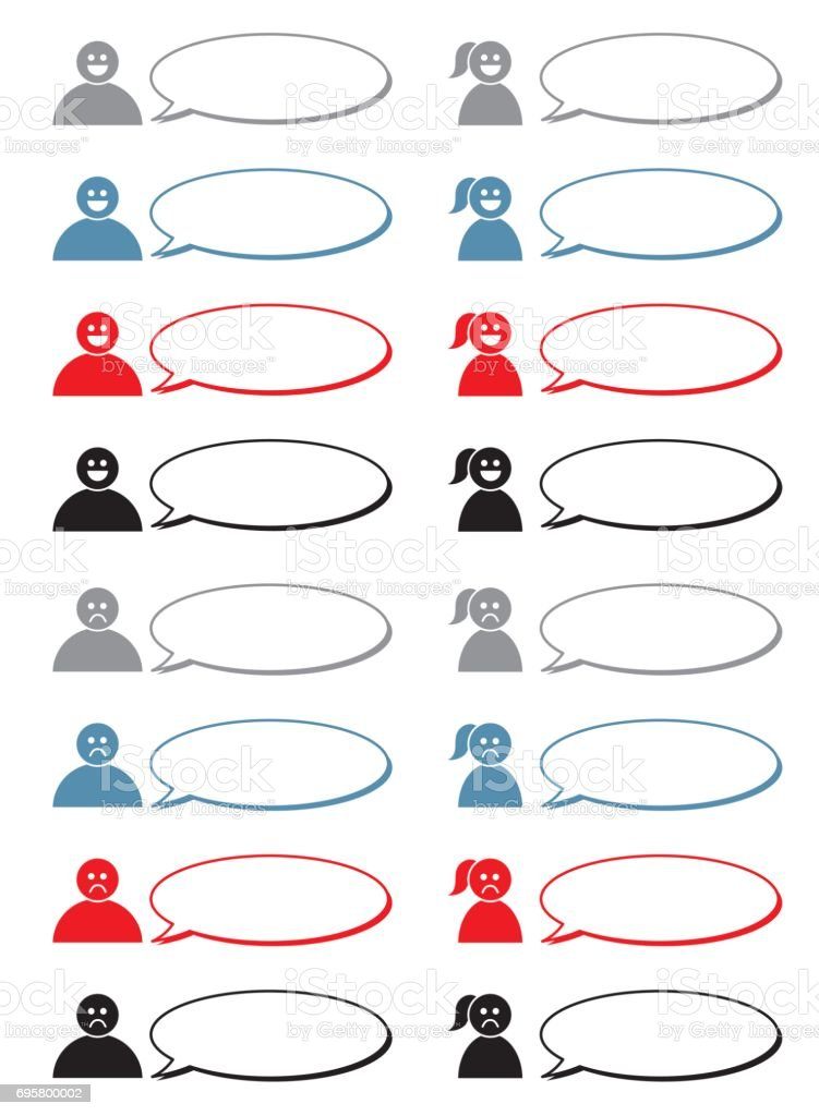 speech balloon people set vector art illustration