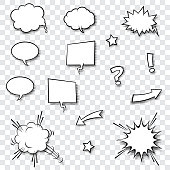 Speech balloons, stars, exclamation and question mark with halftone shadow.