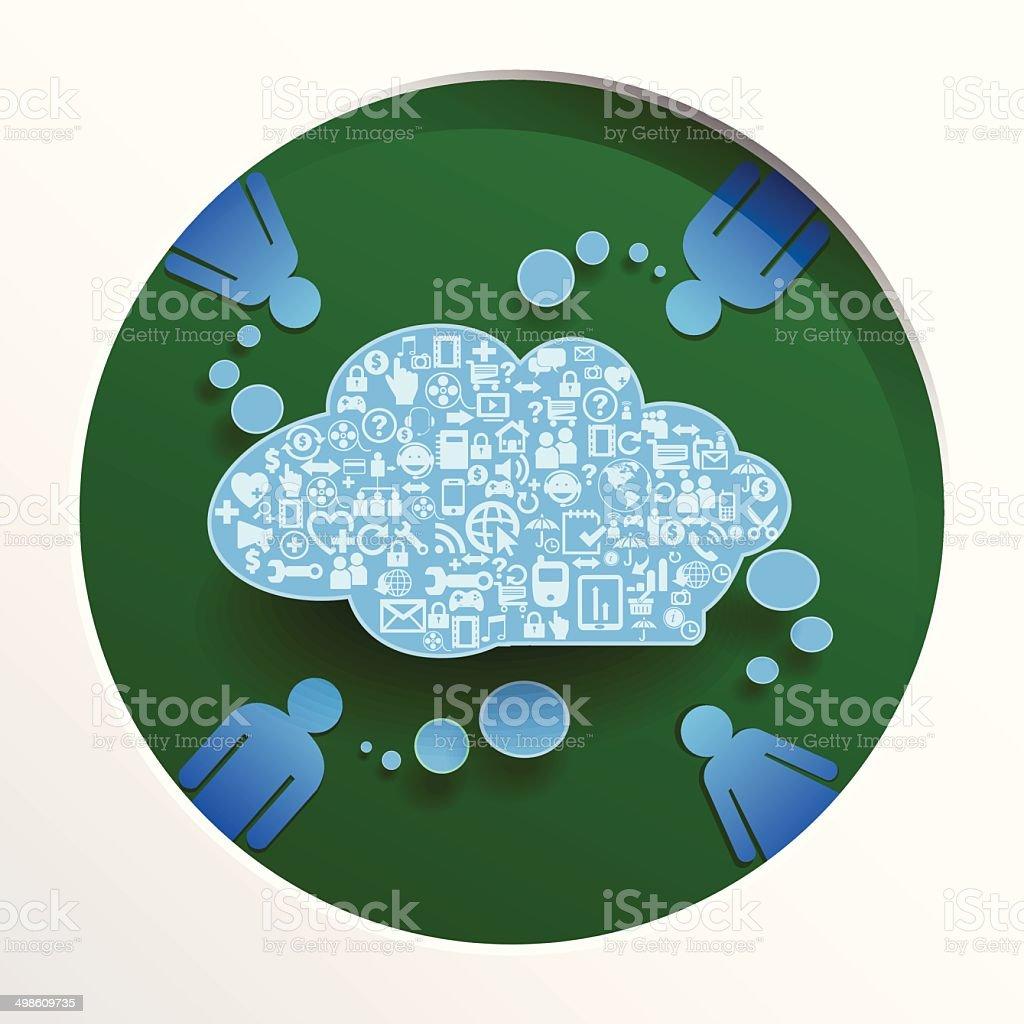 Speech bubbel with icon vector art illustration