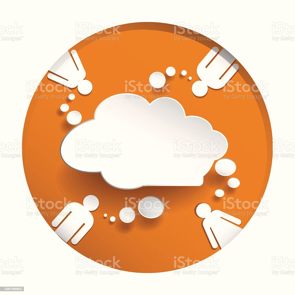 Speech bubbel with people on circle oreang  background vector art illustration