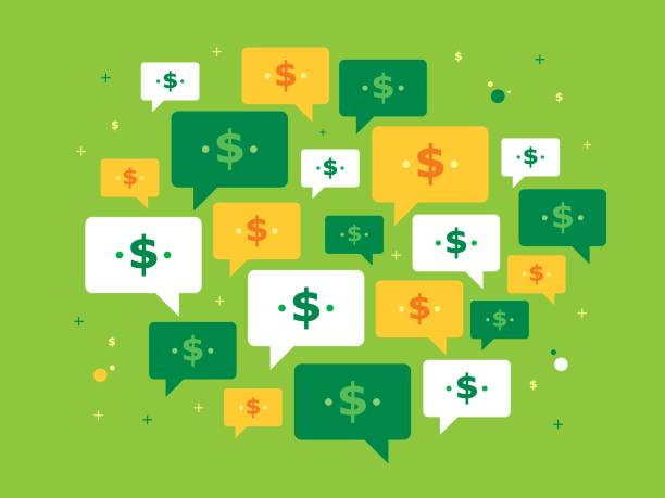 Speech bubble and currency symbol Set of speech bubbles and currency symbol on green background in vector illustration. Concept of investing, success, business, communication, rate, treasury and bank. budget backgrounds stock illustrations