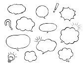 Speech bubble and decoration set (Pen drawing)