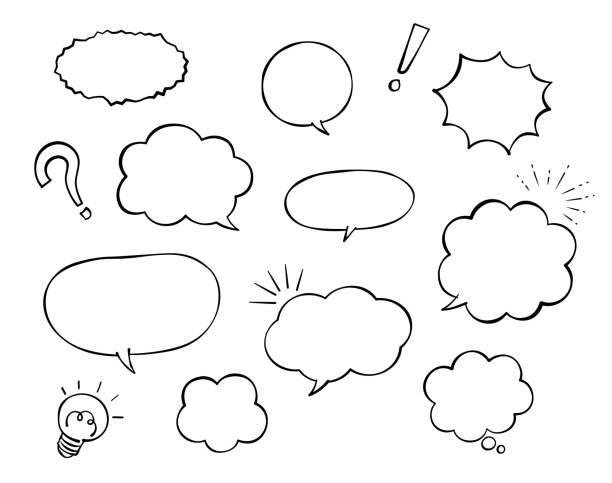 illustrations, cliparts, dessins animés et icônes de ensemble de bulle et de décoration de discours (dessin de pen) - bulle