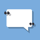 Speech bubble and quotation marks. Vector illustration isolated on a blue background for posting your quote or text.