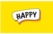 Speech Bubble Banner with Text HAPPY. Retro Style Design.