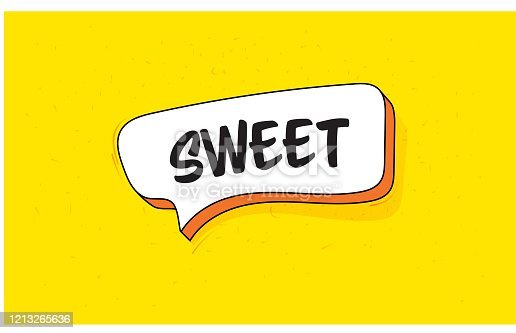 Speech Bubble Banner with Text Sweet. Retro Style Design.