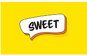 istock Speech Bubble Banner with Text Sweet. Retro Style Design. 1213265636