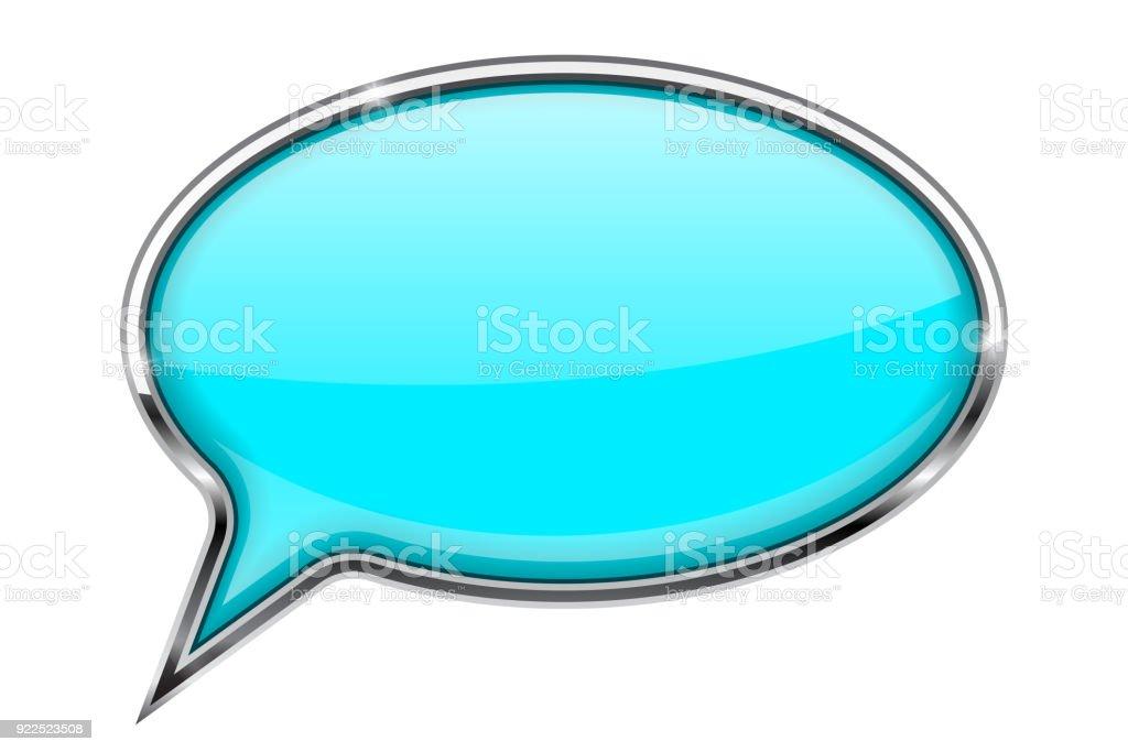 Ilustración de Burbuja Del Discurso Azul Turquesa Icono 3d Con Marco ...
