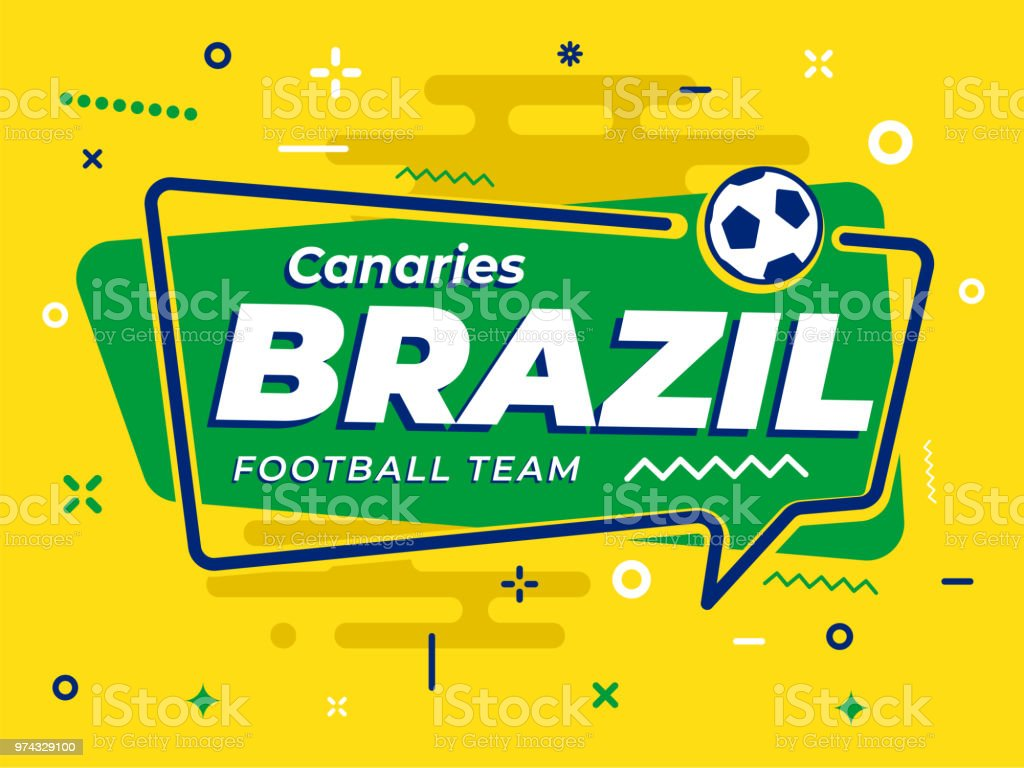 Speech Bubble BRAZIL with icon football, soccer ball. Vector Illustration. vector art illustration