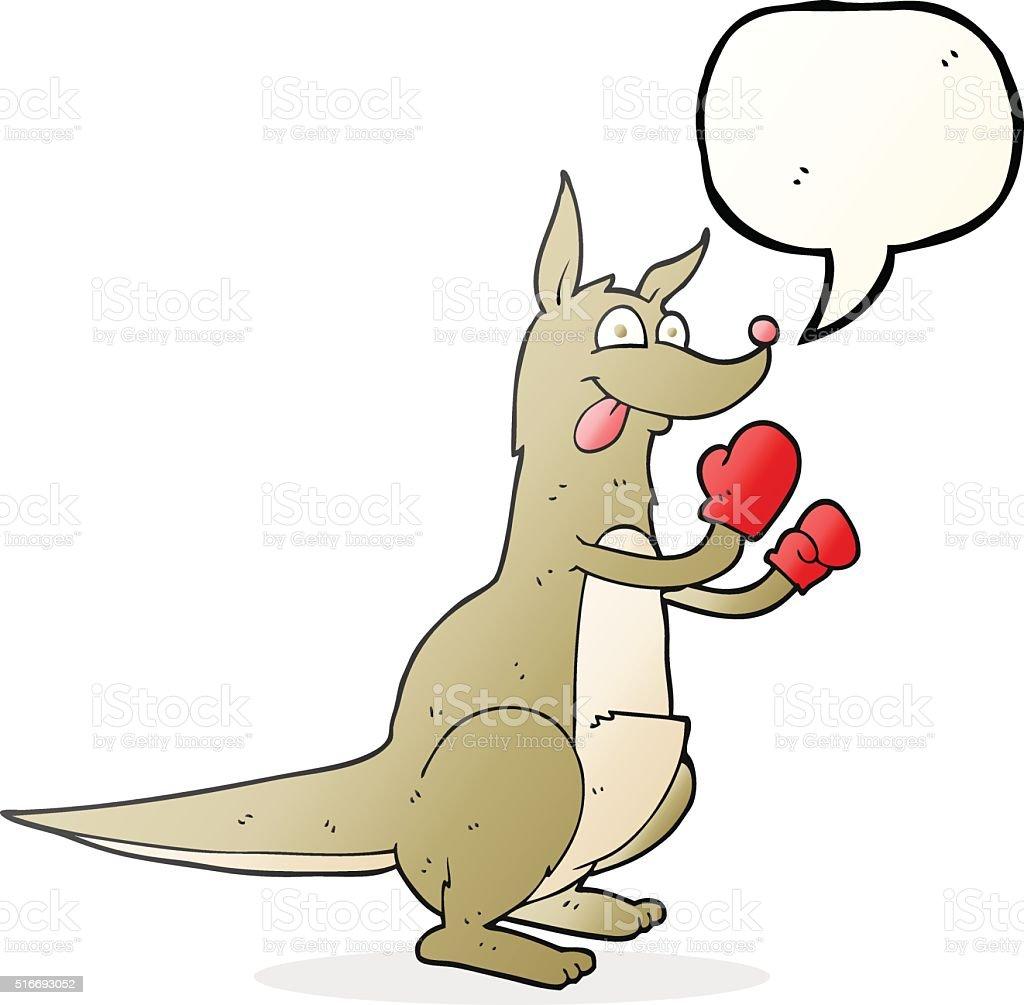 speech bubble cartoon boxing kangaroo vector art illustration