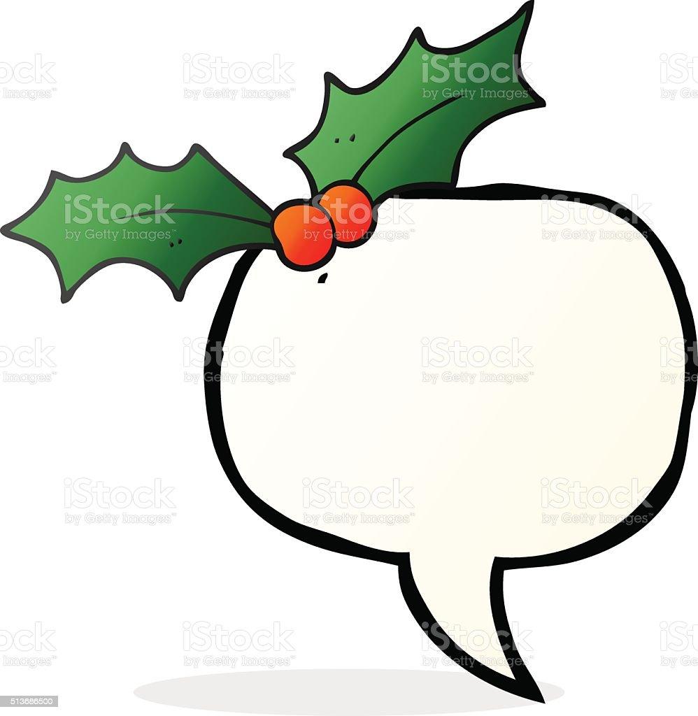Christmas Holly Cartoon.Speech Bubble Cartoon Christmas Holly Stock Illustration Download Image Now