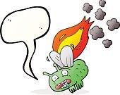 speech bubble cartoon fly crashing and burning