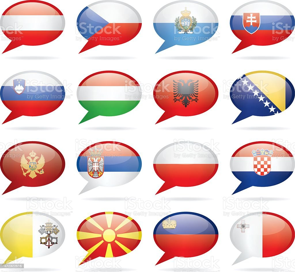 Speech Bubble Central and Southern Europe Flags royalty-free stock vector art