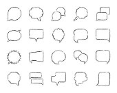 Speech bubble charcoal icon set. Grunge outline web sign kit of comic tell. Chat linear icons includes speak doodle price note, bubble quote. Hand drawn simple speech bubble symbol. Vector Illustration