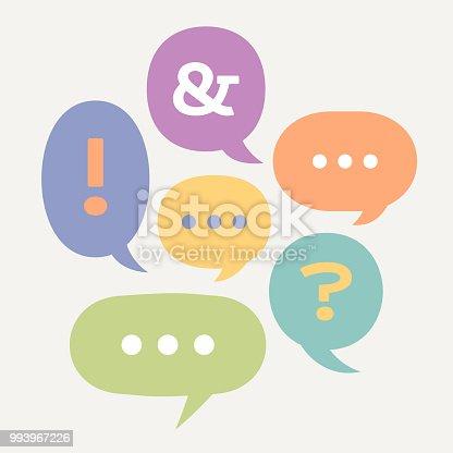 Speech bubble communication collaboration text chat concept.