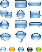 Speech Bubble, Dialog, Caption Box and Web Button Icon Set