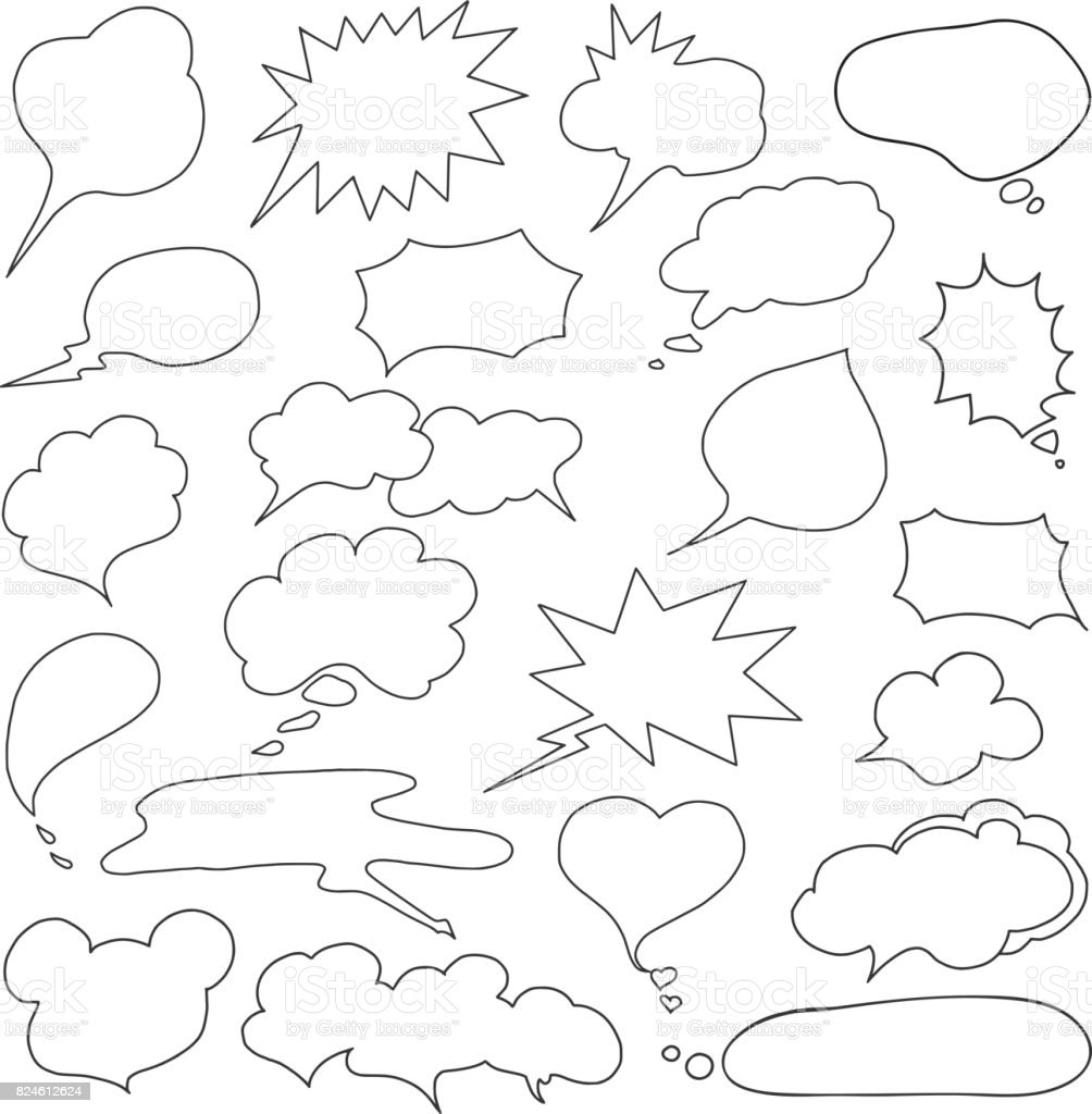 Speech Bubble Doodles Set vector art illustration