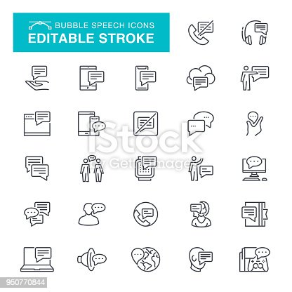 Message, Bubble, Speech, Debate, Editable Stroke Icon Set