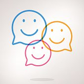 Illustration of three speech bubbles with emojis inside them. EPS 10 with some transparencies.