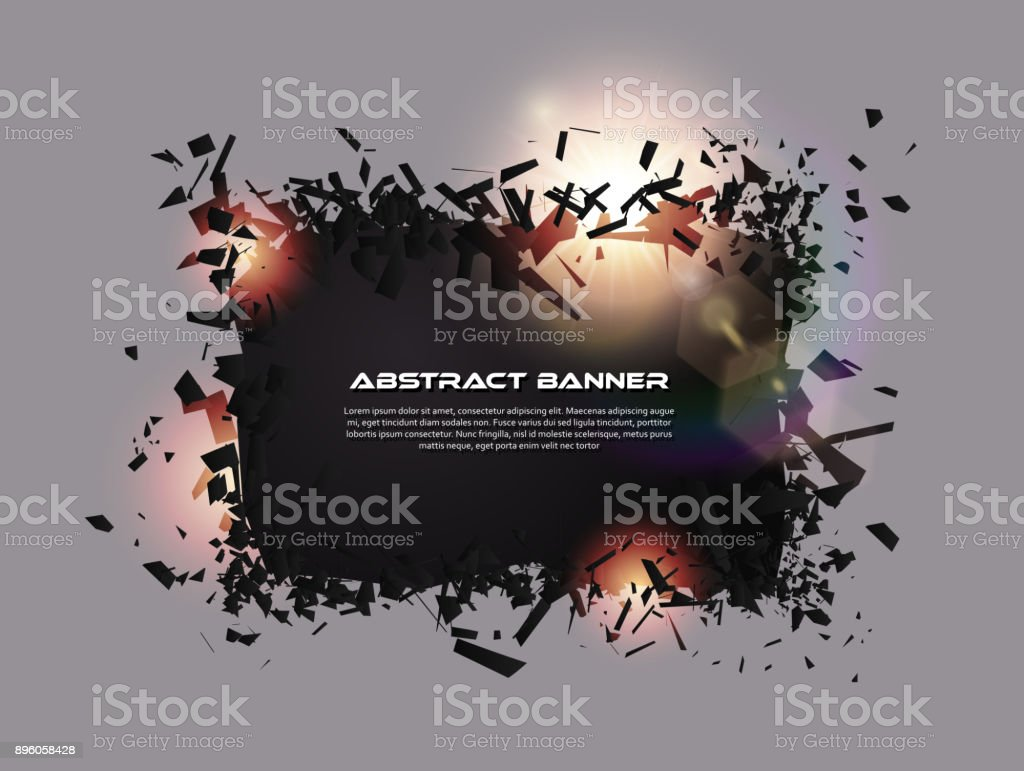 Sprechblase, explodierende Wirkung. Abstrakte Explosion schwarze Stücke mit Linseneffekt. Explosive Zerstörung. Partikel auf dunklen Banner Hintergrund. Vektor-Illustration. Einfach bearbeitbar – Vektorgrafik