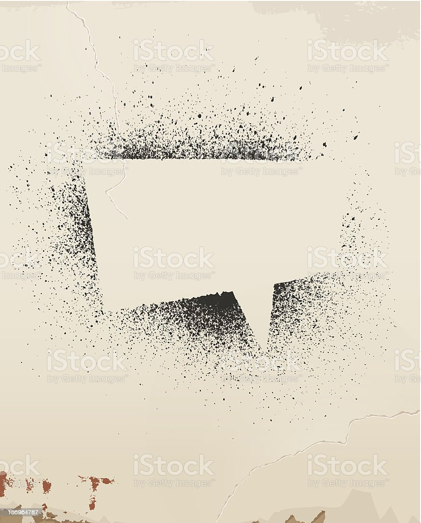 Speech bubble floating on a spray painted old wall vector art illustration