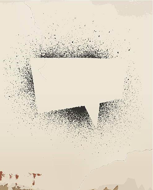 speech bubble floating on a spray painted old wall - graffiti texture stock illustrations, clip art, cartoons, & icons