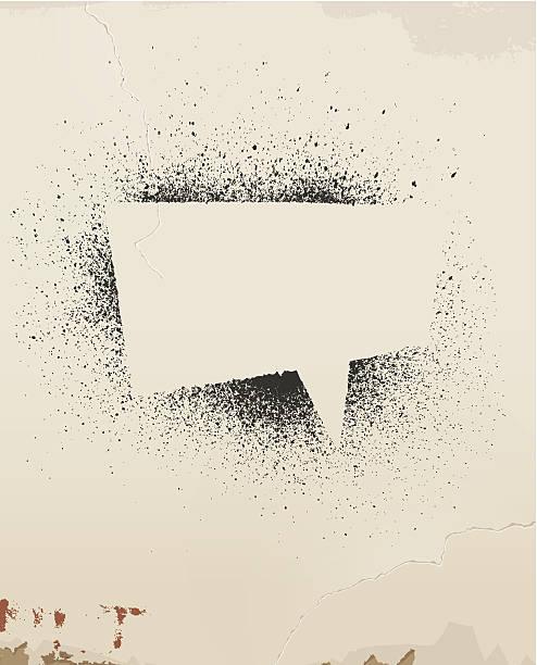 ilustrações, clipart, desenhos animados e ícones de discurso de bolha, spray pintado velha parede, em. - textura de grafite