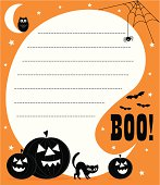 Orange, black and white Halloween invite with holiday pumpkins, cat, owl, cobwebs, spider and Bo! wording. A speech bubble with space for copy to be applied.