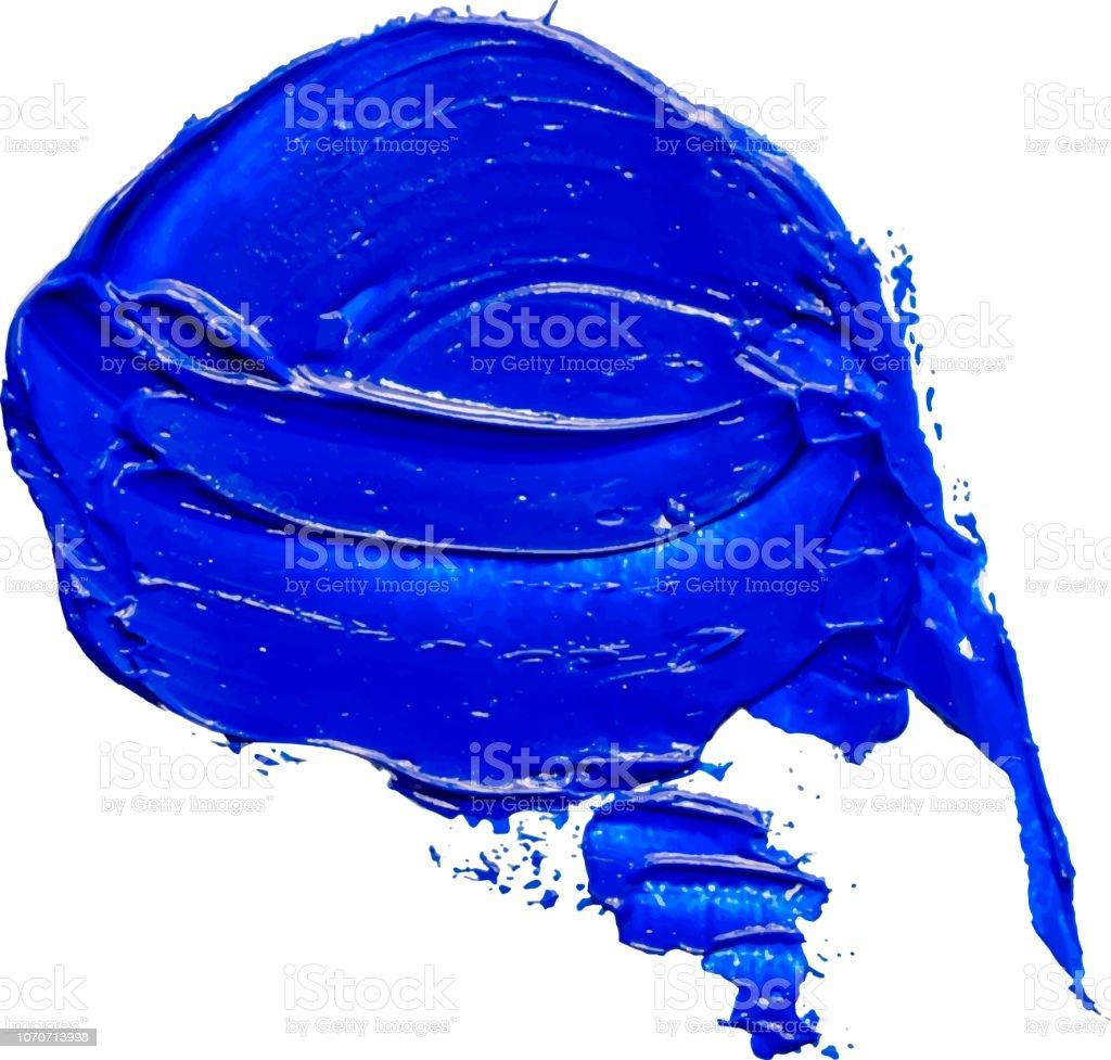 Speech bubble hand drawn textured blue oil paint brush stroke eps10 vector illustration isolated on transparent background vector art illustration