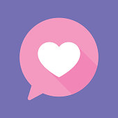 Vector illustration of a pink speech bubble with heart against a purple background in flat style.