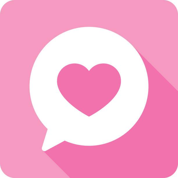 stockillustraties, clipart, cartoons en iconen met toespraak bubble hart silhouet - flirten