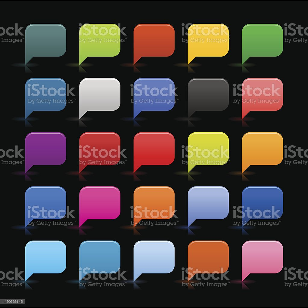 Speech bubble icon empty sign rounded square button black background vector art illustration