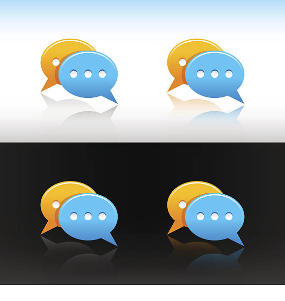 Speech bubble icon set orange blue circle web internet button vector art illustration