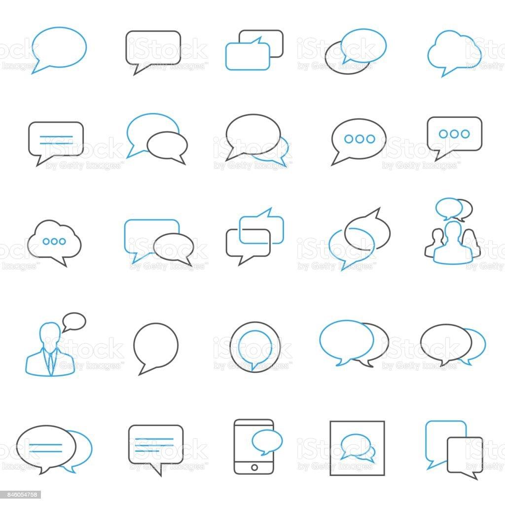 Speech bubble icon set vector art illustration