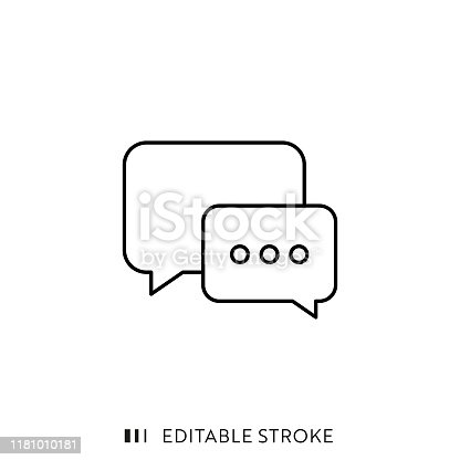 Speech Bubble Icon with Editable Stroke and Pixel Perfect.