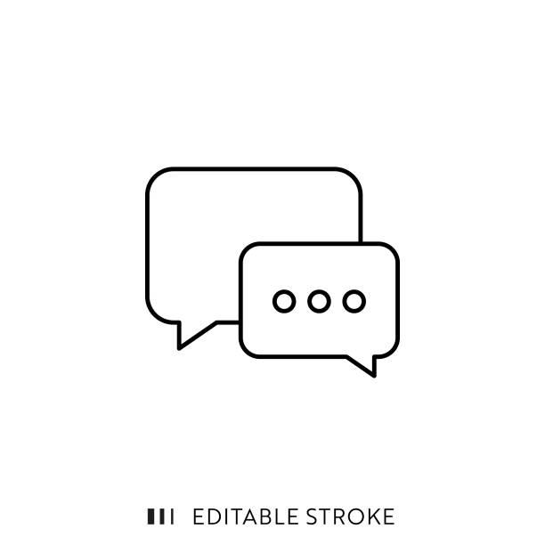 ilustrações, clipart, desenhos animados e ícones de ícone da bolha do discurso com curso editable e pixel perfeitos. - social media