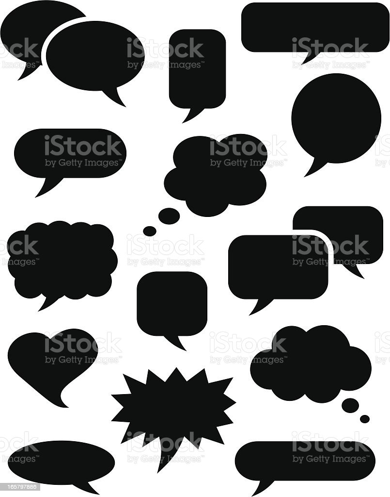 Speech bubble icons black vector art illustration