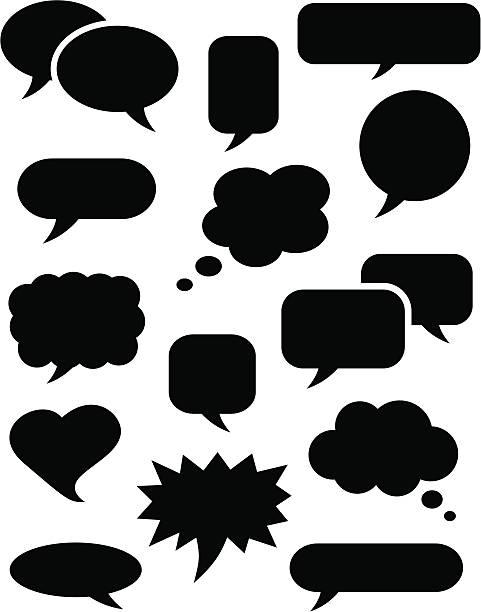 Speech bubble icons black vector art illustration