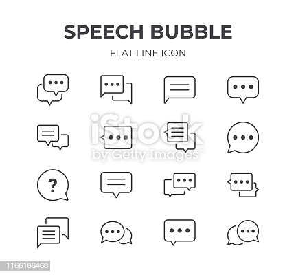 Set of Speech Bubble Vector Icons. Contain Icons as Chat, Discussion, Talking and more.