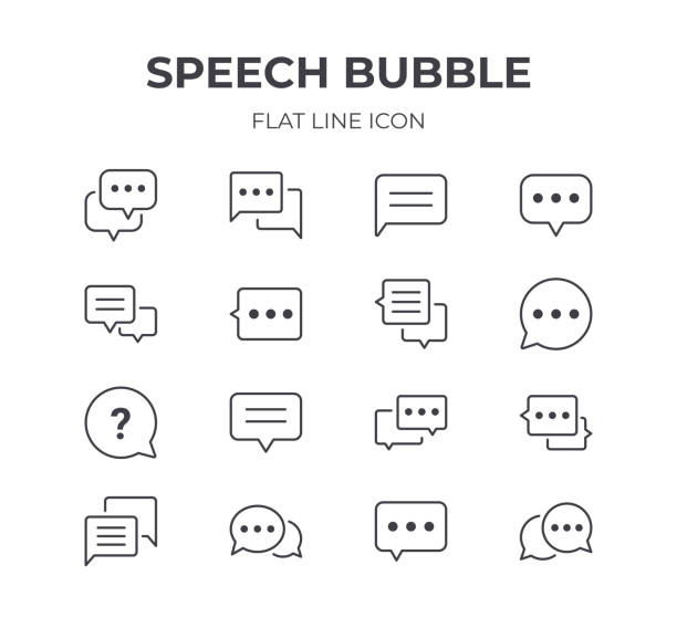 Speech Bubble Icons Set Set of Speech Bubble Vector Icons. Contain Icons as Chat, Discussion, Talking and more. speech bubble stock illustrations