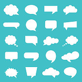 Vector illustration speech bubble icons set on blue background.