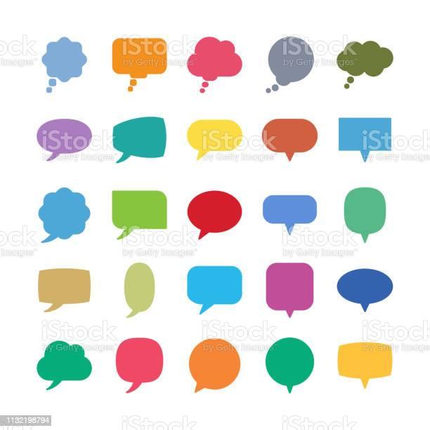 語音氣泡圖示向量圖形及更多一組物體圖片