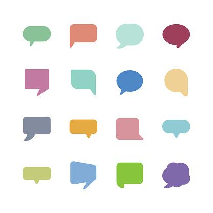 Speech Bubble Icons - Stockowe grafiki wektorowe i więcej obrazów Balon