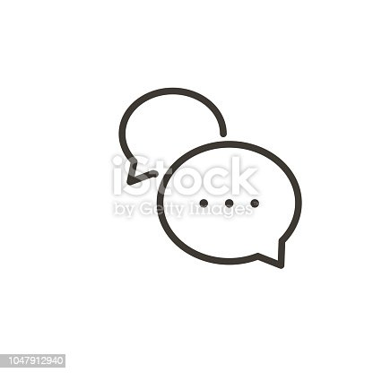 istock Speech bubble interaction icon. Vector thin line simple illustration of a dialogue with minimal cartoon balloons. 1047912940