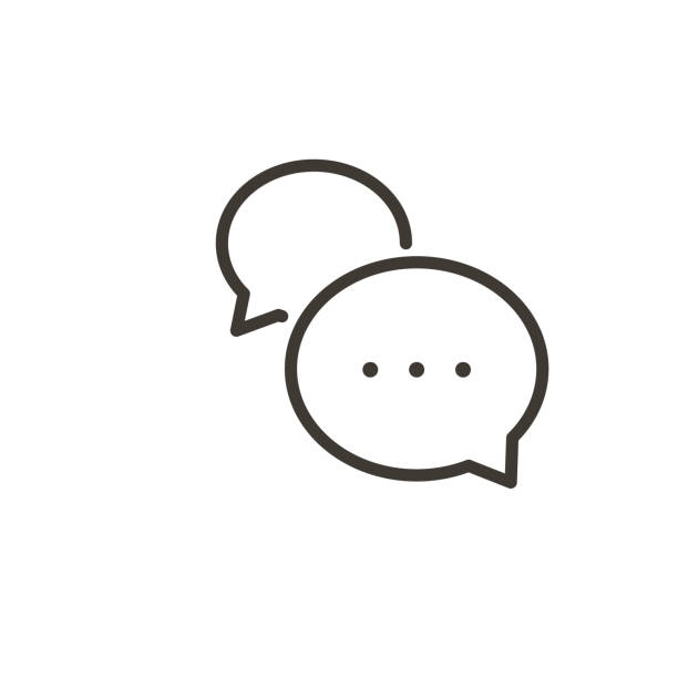 illustrazioni stock, clip art, cartoni animati e icone di tendenza di speech bubble interaction icon. vector thin line simple illustration of a dialogue with minimal cartoon balloons. - social media